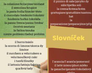 Použitá italská slovíčk apojmy.