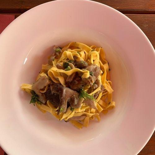široké italské nudle sčerstvými hříbky jsou oblíbené toskánské primo piatto.